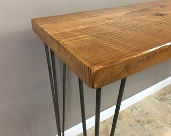 Barnwood Table,Couch table ,Entry Table,Hallway Table, Reclaimed wood Table with Leveling Hairpin Legs, FREE SHIPPING!!!