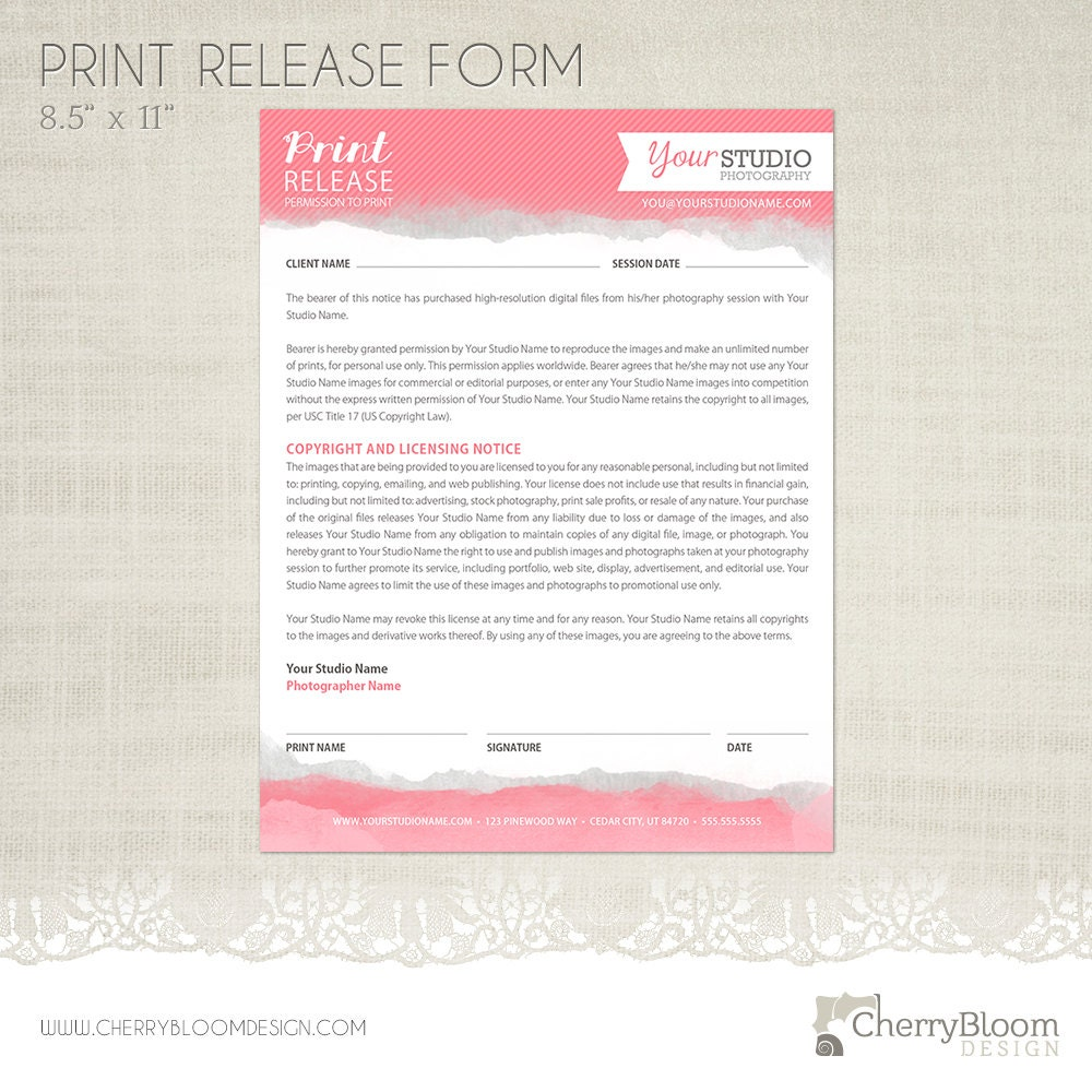 Print Release Forms - Resume Template Sample