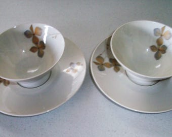Rosenthal Wood Nymph Set Of 2 Soup Bowls & Saucers