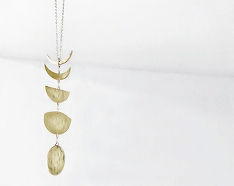 Brass Moon Phase Necklace- Bad Moon Rising Vertical Necklace Cycle Shapes. Brass Moons on 14k Gold Filled Chain