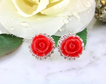 Red Rose Earrings - Diamond Earrings - Bridal Earrings - Diamond Halo - Red Rose Stud Earrings - Bridesmaid Gifts - Wedding Jewelry