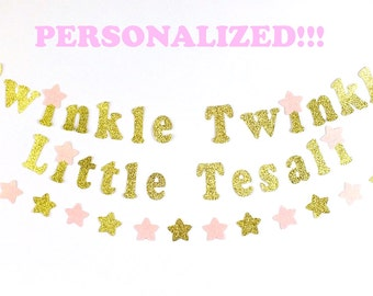Twinkle, Twinkle Little Star Personalized Gold Glitter Banner, Birthday Decor, Pink and Gold Birthday, First Birthday