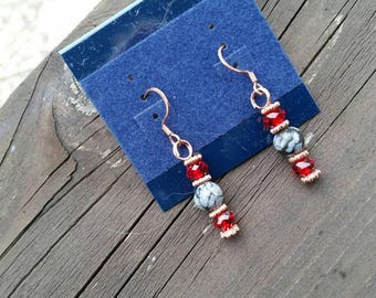 Red Crystal and Dalmation Jasper Beautifully Elegant Beaded Earrings with copper findings, red crystal beads, and gemstone accent