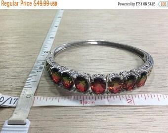 "10%OFF3DAYSALE Vintage 7.25"" 925 Sterling Silver 18.4g Bracelet Green Red Watermelon Crystals Bent Used"