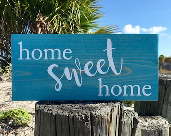 Home Wood Sign, Home Sweet Home Painted Wood Sign, Rustic Wood Sign, Home Gift, New House Gift, Housewarming Gift, Welcome Home Sign