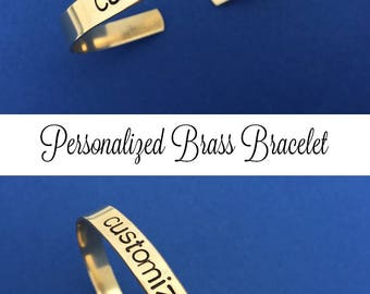 Customized Bracelet {BRASS}, Personalized Gold Bracelet, Hand Stamped Cuff Bracelet, For Her, Birthday Gift, Mother's Day Gift, Graduation