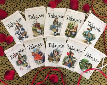TAKE ME Alice in Wonderland Party Favor Bags 4x6 | 6x8 | 10 Classic Designs | Onederland Bags | Bridal Baby Shower | Take Me Party Favor 20
