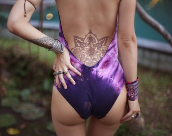 CANDY Pink & Purple Starburst Tie-Dye Leotard, EDC, EDM, Festival Clothing, Burningman, yoga, Halter, Bodysuit, Haltertop, Open-Back