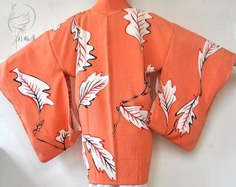 Orange japanese short kimono robe/silk haori/kimono jacket cardigan top/ vintage womens bohemian boho robe top/duster coat