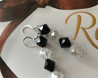 Faux Crystal and Onyx Dangle Earrings