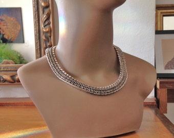 Silver Napier Necklace VIntage 60s Modernist Necklace *