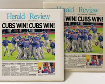 Chicago Cubs World Series Champions Set of 2 Ceramic Tile Coasters