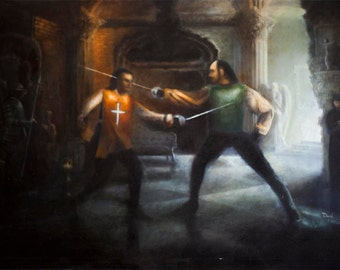 Two Swordsmen (Resident Evil) - Oil Painting
