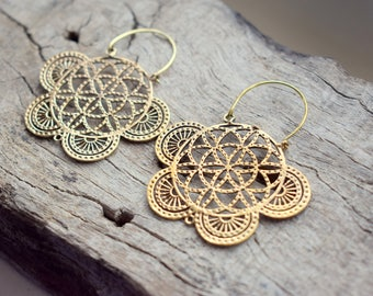 Tribal Brass , Nickel free , Gold Plated Handmade Earrings - Gift earrings - Ancient inspired Design #B42