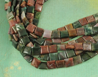"""Fancy Jasper 14mm Square Gemstone Beads - Full 16"""" Strand - About 29 Beads - Pink & Green Mixture of Colors"""