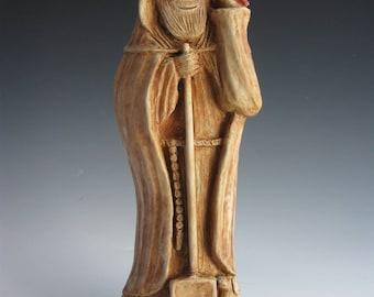Handmade Statue of St. Fiacre, Patron of Gardeners, with Cat, Dog, Bird