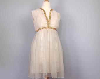Sixties Vintage Mini Dress - Vintage Wedding Dress - White Boho Grecian Dress - 60s Dress