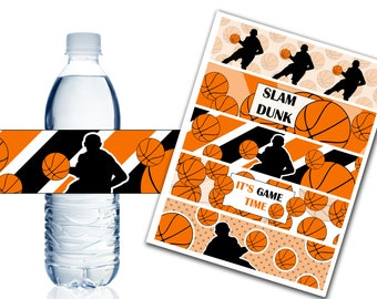 Basketball Water Bottle Labels, Printable Water Bottle Labels, Basketball Party Decor, Birthday, Baby Shower - Instant Download - DP442