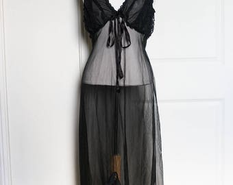1960s Black Sheer Negligee Gown