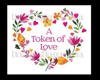 Heart Cross Stitch, Floral Heart Cross Stitch, Token of Love Heart, Heart, Crochet Heart, Heart With Flowers Cross Stitch NewYorkNeedleworks