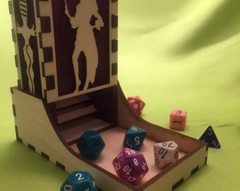 Pirate woman style, Deluxe dice tower, laser cut and unique, for role playing and tabletop gaming