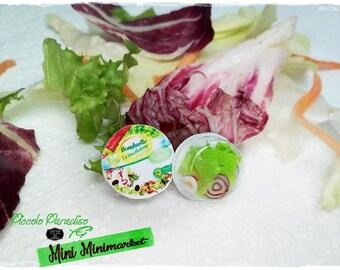 Italian Miniature Food, Handmade, Confezione in miniatura dolls house di insalata Bonduelle in scala 1:12