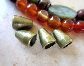 24 Cone bead caps antique bronze cord ends 11mm x 8mm 41y-nf
