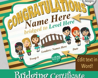 "Bridging Certificate, 8.5x11"", Brown to Green Vest, Instant Download, Word & PDF Format,"