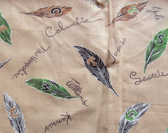 vintage FULL unopened feed sack fabric -- college names and feathers novelty print