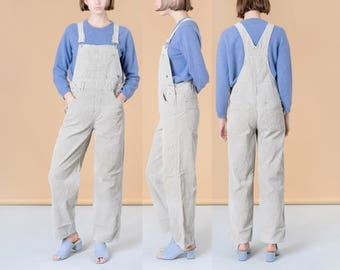 CORDUROY OVERALLS WOMEN woman 90S vintage classic wide leg Khaki spring summer / Small Medium / vintage