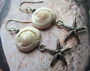Sea Shell Earrings, Shell Earrings, Starfish Earrings, Beach Earrings, Beach Jewelry, Sea Shell Jewelry, White Earrings, Dangle Earrings,