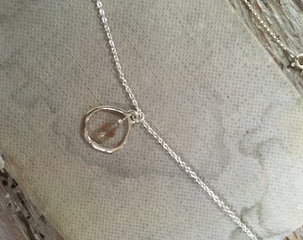 Sunset Sapphire and Silver Diamond Organic Circle Necklace in Sterling Silver