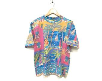Vintage KEN DONE Australian Artist PopArt Designer Allover Print Tee Tshirt Original Ken Done Medium Size