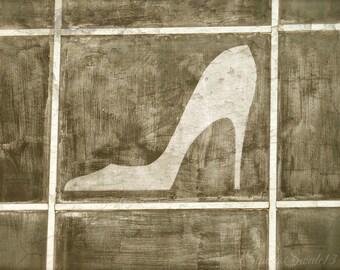 "Stiletto Art, Retro Print, Savannah Urban Street Art, Shoe Art Graffiti, Sepia Photo, Feminine Art, Girls Room Decor, Shoe Print- ""Stiletto"""
