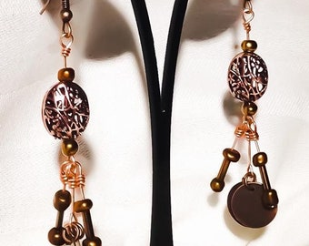 Wire wrapped filigree beaded earrings on copper wire