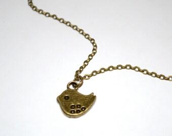 Bronze tweet. Sweet bird necklace