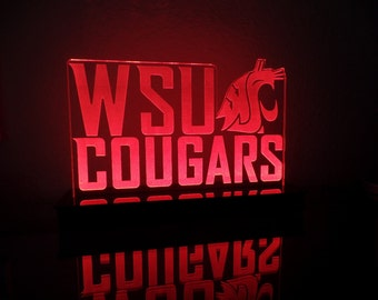 Washington State WSU Cougars ncaa Multi color LED Sign with Remote  -  Made In USA!  -  Great for a Bar - Pub - Man Cave - Game Room - Club