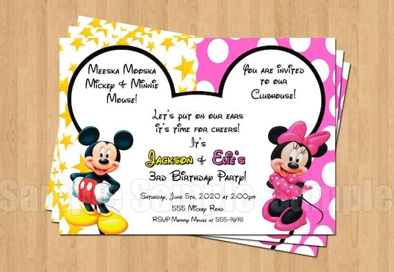 Favoloso Festa di compleanno Minnie Topolino gemelli personalizzati BM08