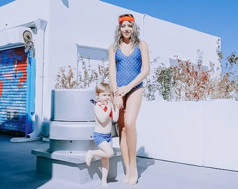 One piece swimsuit // mother and son swimsuit // mommy and me outfit // bathing suit // swimsuit for boy // 4th of July // America