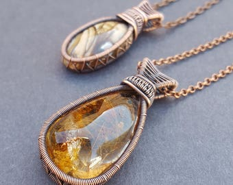 Wire Wrapped Antiqued Copper, Boho Wire Wrapped Pendant Necklace, Festival Jewelry, Large Stone Necklace, Gemstone Pendant, Wire Wrap Stone