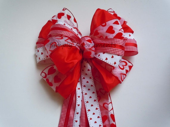Large Valentine Wreath Bow Valentine Christmas Wreath Bow Red White Wedding Bow Ceremony decoration Bow Valentine wedding Bow Gift Wrap Bow