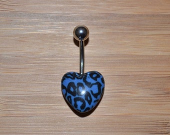 Blue Leopard Cheetah Print Heart Shape Acrylic Belly Button Ring Navel Body Piercing Jewelry