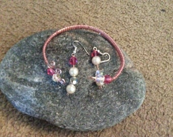 Rose gold and silver plated  bracelet and earring set