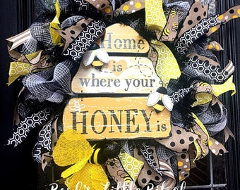 Home is Where your Honey is, Beehive Wreath, Bumblebee Wreath, Bees, Bee Wreath, Bumblebee Wreaths, Beehives, Summer Wreath, Spring Wreath
