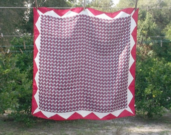 Vintage Red White Blue Geometric Scarf from Japan 27x27