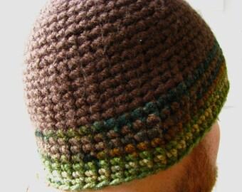 Men's Crochet Beanie Hat Camo Brown Green Striped Hunter Warm Winter Gifts for Him Boyfriend Husband Neutral Masculine Knit Accessories