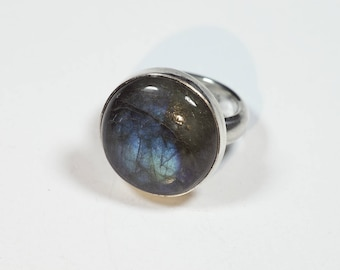 Labradorite Ring Silver Size 6.8 (6-) Unique 264