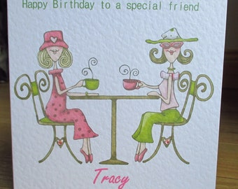 Personalised Tea For Two Cafe Women Birthday Card Any Relation any Text