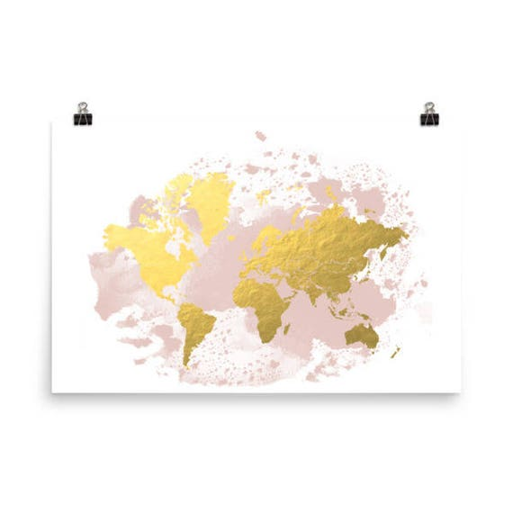 Travel decor large world map gold map watercolor map world like this item gumiabroncs Choice Image
