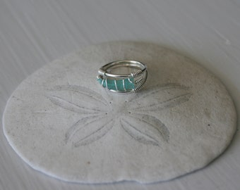 Size US 5 Turquoise Recycled Glass & Sterling Silver Ring